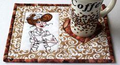 Nurse Mug Rug  Quilted Mug Rug  Snack Mat  Nifty by TheHotBobbin