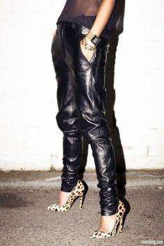 Loose leather pants, sheer top, animal print heels