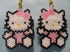 Hand Beaded Pink Kitty dangling earrings