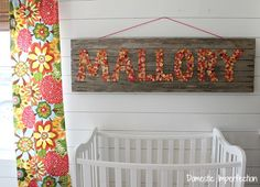 Huge kids sign made from rustic wood and buttons!