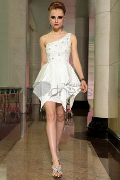 white party cocktail dresses a line one shoulder beaded sheath girls dresses 6037 Homecoming Dresses 2014, Mini Prom Dresses, Ball Dresses, Party Dresses, Prom Gowns, Dress Party, Party Wear, Girls Dresses, Wedding Dresses