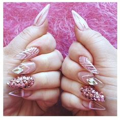 Negative space stiletto nails