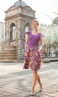 Purple Jersey Knit Top with 100% Silk Skirt
