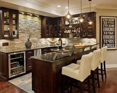 Kitchen Decorating Walls Wooden Floor Pantry Gloss Contertop Table Bar White Stools.jpg Awesome Wall Decor