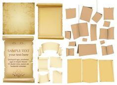 variety of old paper vector