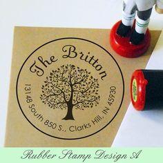 Custom Rubber Address Stamp Tree Personalized by myrubberstamp, $17.00