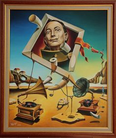 surreal simulacrum of salvador dali wit two gramophones