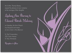 Modern Lavender Lilies In Charcoal Invitations Casual Wedding Invitations, Bridal Shower Invitations, Our Wedding, Wedding Stuff, Cala Lilies, Wedding Checklists, Lavender, Lily, Modern