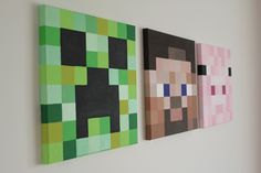 Minecraft Canvas Pictures - Steve, Creeper and Piggy - all hand painted canvas's for my little boy's new minecraft themed bedroom :)