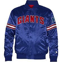 Starter Indianapolis Colts Satin Varsity Midweight Button-Up Jacket - Royal Blue New York Giants Logo, New York Giants Football, Motorcycle Jacket, Bomber Jacket, Giants Team, Mets Baseball, Football Jackets, Satin Jackets, Cool Jackets