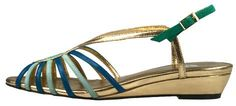 selve Millie low wedge sandal styled in gold, green and aqua shades arouses a  'One Thousand and One Nights' feeling.
