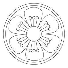Free blossom mandalas for pre-K and kindergarten children Mandala Dots, Mandala Pattern, Zentangle Patterns, Mosaic Patterns, Mandala Design, Beading Patterns, Embroidery Patterns, Simple Mandala, Cross Patterns