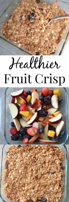 Healthier Fruit Crisp- this fruit crisp is loaded with a variety of fruits and lightened up with less sugar and a protein crisp topping! www.nutritionistreviews.com