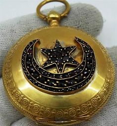 Antique-gold-plated-silver-fancy-hunter-case-Ottoman-Tughra-Dent-pocket-watch