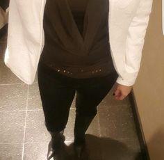 #outfitideas #outfitoftheday #brownblackandwhite #blazer #heelboots #top #fashion