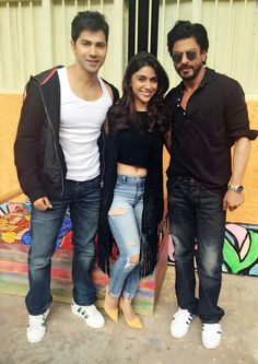 Varun Dhawan and Shah Rukh Khan with Zoa Morani on the sets of 'Dilwale'. #Bollywood #Fashion #Style #Beauty #Handsome #Denim #Hot