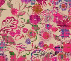 pink_ikat_floral fabric by crystal_walen on Spoonflower - custom fabric
