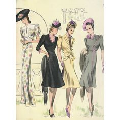 1940s FASHION PLATES! Thunderhorse Vintage ❤ liked on Polyvore featuring home, kitchen & dining and 1940s