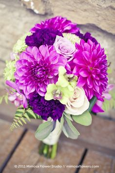 dahlias, roses, carnations, ferns- Since i'm now loving purple