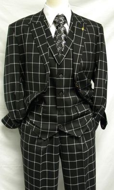 Falcone Mens Black Square Plaid 3 Pc. Suit Pett Vest 5274-000