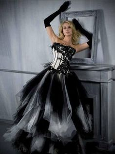 Black White Prom Ball Dress Wedding Dresses Party Bridesmaid Gown A Line Custom on Wanelo