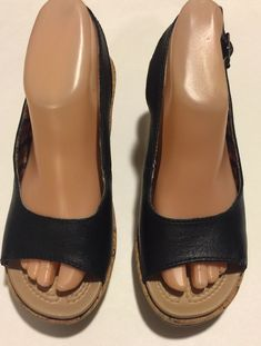 27211599414 EUC Beautiful Calvin Klein Black Leather Open Toe Wedge Heels Size  Condition is Pre-owned.