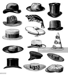 Collection of Old-fashion Vintage Male Classic Hats All Types – illustrazione royalty-free Victorian Men, Victorian Fashion, Vintage Fashion, Victorian London, Old Man Hat, Hat For Man, Style Vintage Hommes, Top Hats For Women, Fashion Bubbles