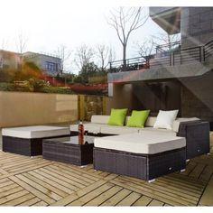 Buy Deluxe Rattan Garden Furniture Set Wicker Conservatory Outdoor Patio 6pc Sofa Set |Homcom