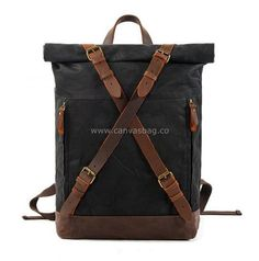 Leather Canvas Backpack (5) Canvas Backpack, Laptop Backpack, Waxed Canvas, Canvas Leather, Black Leather Backpack, Leather Bag, Waterproof Backpack, Hard Wear, Brown Bags