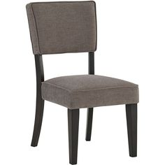 set of 2=$380 Modern style and classic comfort define this urban styled dining chair from Signature Design by Ashley. With a dark grey colored upholstery and rich espresso finish on the sturdy wood veneer, this chair will accompany any style in your home.
