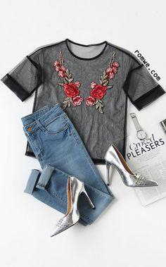 Black Embroidered Rose Applique Sheer Mesh Top