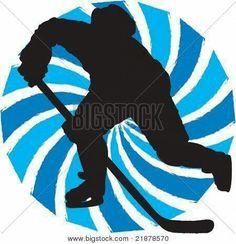 Jääkiekkoilija Merkitse valkoisen paperin keskikohta. Laita harpin terävä pää keskikohtaan ja piirrä lyijykynällä iso reunoille asti ulottuva ympyrä. Piirrä himmeästi lyijykynällä raidoitus ympyrän sisälle. Maalaa raidoitus vesiväreillä kahdella eri värillä. Anna kuivua. Jäljennä mustalle paperille lyijykynällä  jääkiekkoilijan kuva opettajan heijastamasta kuvasta. Leikkaa ääriviivoja pitkin. Liimaa jääkiekkoilija ympyrän keskelle. Liimaa työ sinisen paperin päälle (ohje: Taru Räsänen)