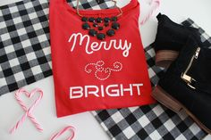 Merry & Bright Off the Shoulder Holiday Shirt