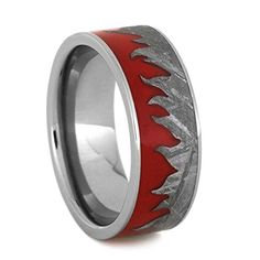 Red Flame Enamel, Curved Gibeon Meteorite 8mm Comfort-Fit Titanium Wedding Band