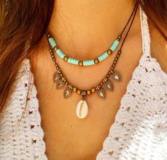 Boho Necklaces for Women Long Layered Bohemian Hippie Jewelry Made with Genuine Leather – Fine Jewelry & Collectibles Sea Jewelry, Seashell Jewelry, Hippie Jewelry, Fabric Jewelry, Jewelry Crafts, Beaded Jewelry, Jewellery, Cowrie Shell Necklace, Shell Necklaces