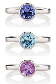 Sterling Silver Gemstone Rings By British Designer MANJA