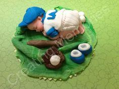 Fondant Baby Baseball Player Cake topper - Edible Baseball Baby Cake topper - Birthdays, Showers and Fondant Flower Cake, Fondant Rose, Fondant Baby, Cupcake Cakes, Car Cakes, Fondant Cakes, Baby Shower Cake Decorations, Baby Shower Cakes, Chocolate Fondant