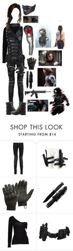 """The Winter Soldier - Bucky Barnes (Female)"" by blackwidow321 ❤ liked on Polyvore featuring Sebastian Professional, Yves Saint Laurent, CamelBak, Boohoo, POLICE, Bamboo, Gaia, marvel, CaptainAmerica and DC"