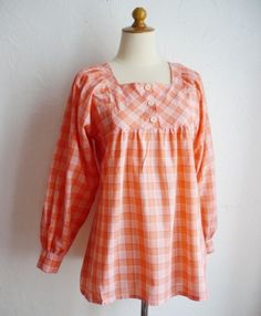 French Vintage 70s Orange Vichy Baby doll Blouse by bOmode on Etsy, $39.00