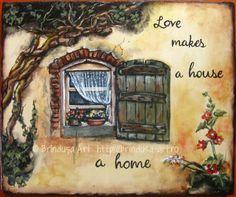 """Brîndușa Art  """"Love makes a house a home."""" Painted wall plaque, acrylics on wood – 11.6 x 9.6 inches (29.5 x 24.5 cm). House with wooden shutters and flowers in the windows... """"Dragostea face dintr-o casă un cămin."""" Pictură pe lemn în culori acrilice – 29,5 x 24,5 cm. Căsuţă cu obloane de lemn, cu flori în fereastră... #home #house #casa #love #cozy #acrylics #woodpainting #picturapelemn #rustic #country #shutters"""