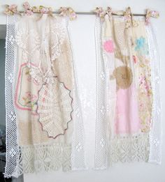 Shabby Chic Window Curtain/Vintage by BohoBagsNThings on Etsy