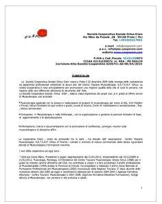 Storico Lavorativo- Curriculum Cooperativa Erám 2009-2012