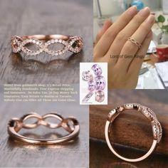 Pave Diamond Wedding Band Half Eternity Infinite Love Anniversary Ring 14K Rose Gold