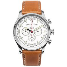 Men's Jack Mason Brand Nautical Chronograph Leather Strap Watch, 42Mm ($275) ❤ liked on Polyvore featuring men's fashion, men's jewelry, men's watches, men's blue dial watches, mens chronograph watch, mens red watches, mens leather strap watches and mens chronograph watches