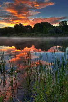Misty Morning Sunrise, Chatfield State Park, Littleton, Colorado,