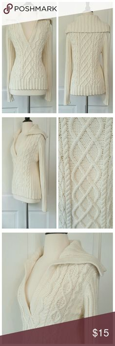 Gap Cream V-neck Cable Sweater Gap v-neck sweater with fold over back collar and cable weave in front and back. GAP Sweaters