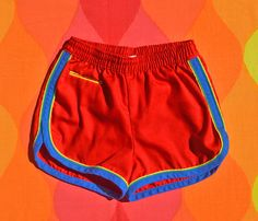vintage 70s kid's shorts RAINBOW bathing suit swim red
