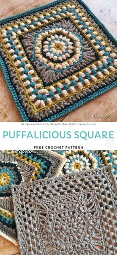 This amazing square is very fluffy and intriguing. Due to many yarn colors, it is just perfect for a spring blanket. It's quite repetitive, so it's just great to take a cup of tea and relax while crocheting this beauty. Free Crochet Square, Crochet Square Blanket, Crochet Squares Afghan, Crochet Motifs, Granny Square Crochet Pattern, Crochet Blocks, Crochet Blanket Patterns, Crochet Stitches, Knit Crochet