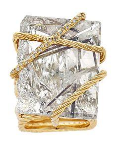 Estate Jewelry:Rings, Rutilated Quartz, Diamond, Gold Ring, David Yurman. ...