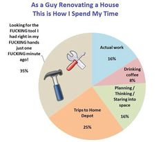 Home renovation: time spent pie chart  // funny pictures